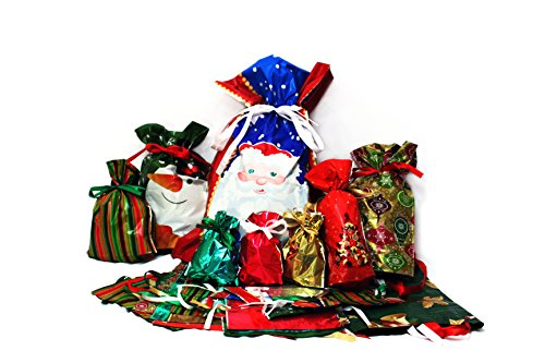 Gift Mate 58-Piece Drawstring Gift Bag Set Holiday Design (Christmas Wrapping Bags)