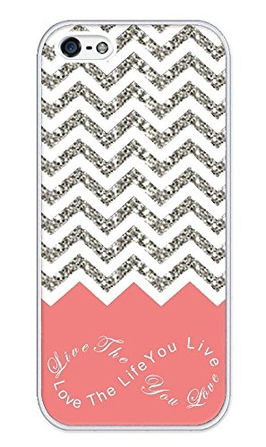 Chevron Pattern Grey White Live the Life You Love, Love the Life You Live- Apple iPhone 5 Case - iPhone 5s Case