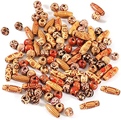 Wholesale Natural Painted Wood Beads Round Loose Wooden Bead Bulk Lots Ball for Jewelry Making Craft Hair 8mm 100pcs