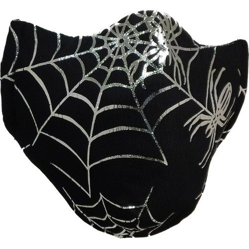 Healthy Air Mask® - M11 Black Mesh Silver Foil Spider Web - Adult (Available in Child and Adult)
