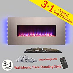 "Golden Vantage 48"" 3-in-1 Fuel Bed Freestanding Wall Mount Convertible Electric Fireplace Stove Heater w/ Remote Control from Golden Vantage"