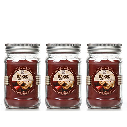 Hosley Set of 3, Baked Apple Scented Mason Jar Candles 11 oz Each, Bulk Buy. Ideal Gift for Weddings, Special Occasions, Spa, Reiki, Meditation, Bathroom Settings O9 -