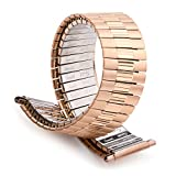 Speidel Men's Stainless Steel Comfortable Stretch Watch Band Rose Gold Tone Tone Replacement Strap, 16-22mm, Curved End with No Clasp, Long