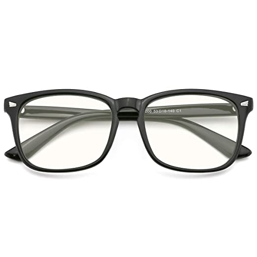 7525e66586e Image Unavailable. Image not available for. Color  Slocyclub Blue light  Blocking Glasses Vintage Nerd Square Keyhole Design Eyeglasses Frame ...