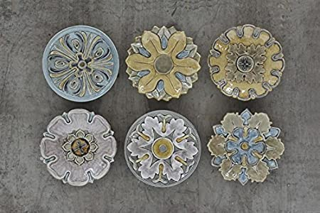 Marvelous 11u0026quot; Round Terra Cotta Decorative Wall Plates Set Of 6 Flower Designs  Country Home Kitchen