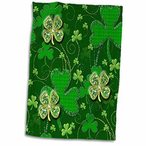 3dRose Saint Patty Day - Clover green background fun holiday print - 15x22 Hand Towel (twl_263239_1)