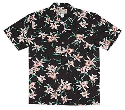 - Paradise Found Men's Star Orchid Tom Sellect Magnum PI Hawaiian Shirt, Black, S