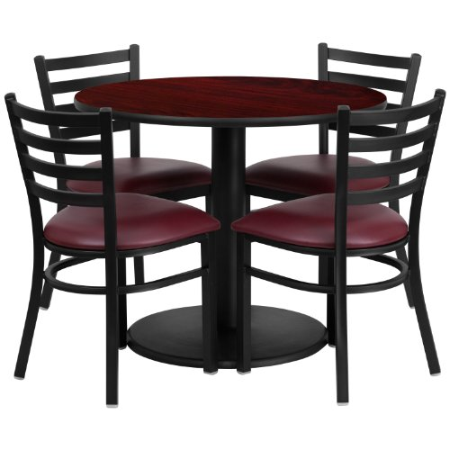 "Flash Furniture 36"" Round Mahogany Laminate Table Set with 4 Ladder Back Metal Chairs with Burgundy Vinyl Seat"