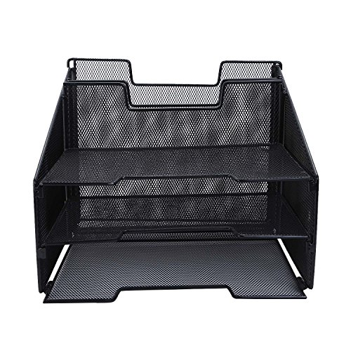 CRUODA Mesh Desktop File Sorter Organizer Desk Tray Organizer - 3 Letter Trays and 2 Vertical Upright Sections - Black ()
