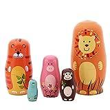 Demarkt Matryoshka 5 Packs Nesting Doll Handmade Wooden Cute Cartoon Animals Pattern 6''
