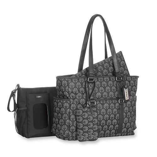Carter's Studio Diaper Bag with Removable Stroller Tote - Black/Grey