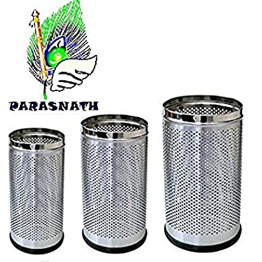 """Parasnath Stainless Steel Perforated Open Dustbin/Stainless Steel Garbage Bin/Small, Medium and Large/ - 6 Litre (7""""x10"""") + 10 Litre (8'' X 12'') + 18 Litre (10'' X 14'')- Set of 3 Pcs 11"""
