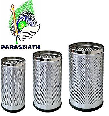 """Parasnath Stainless Steel Perforated Open Dustbin/Stainless Steel Garbage Bin/Small, Medium and Large/ - 6 Litre (7""""x10"""") + 10 Litre (8'' X 12'') + 18 Litre (10'' X 14'')- Set of 3 Pcs 5"""