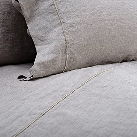 Simple/&Opulence 100/% Belgian Linen Pillowcase Emboridered-Set of 2 Dark Grey King Size Stone Washed Solid Color-Soft and Durable 20x40