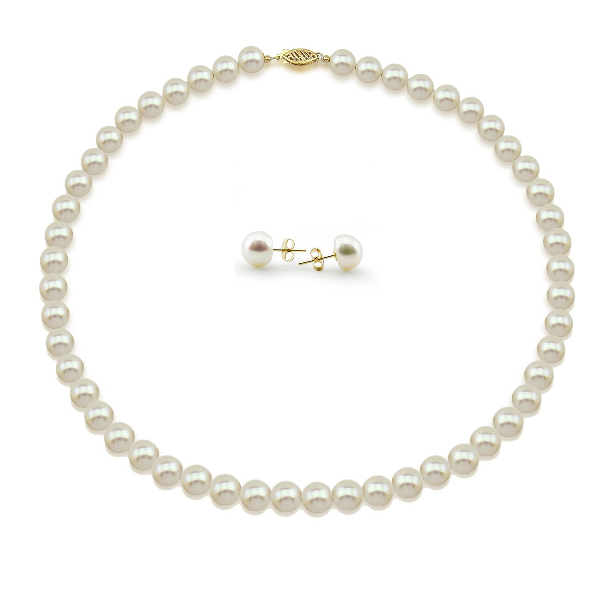 """14K Yellow Gold 7.5-8.0mm High Luster White Freshwater Cultured Pearl Necklace 18"""", and Earrings Set"""