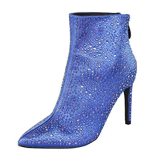 CAPE ROBBIN Womens Pointed Toe Stiletto Heel Jeweled Rhinestone Party Dress Ankle Booties Boot 8.5 Royal Blue - Stiletto Heel Satin Top