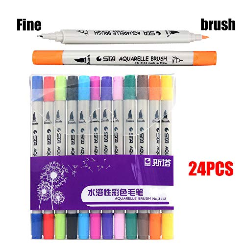 Ouniman 12 Colors Dual Tip Brush Marker Pens Fine Tip Markers & Brush Highlighter Pen Set for Bullet Journal Adults Coloring Book Note Taking Writing Planning Art Project -