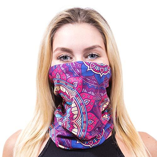 - GloFX Seamless Face Mask - Muti-purpose Reversible Bandana Headband Rave Festival Mask for Dust, Fishing, Hiking, Halloween, Festivals and more