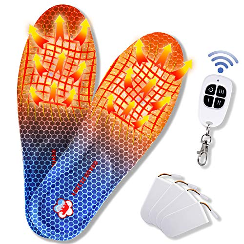 Heated Insoles,Rechargeable Foot Warmer,Battery-Powered Electric Heated Insole with Remote Wireless Control Adjustable Temperature for Men Women(4- Battery)(Navy, M 7-9)