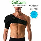Shoulder Brace by Gilcom: comes with one ice pack| Great for Rotator Cuff Support for Injury Prevention, Dislocated AC Joint, Labrum Tear, Frozen Shoulder Pain, Sprain, Soreness, Bursitis