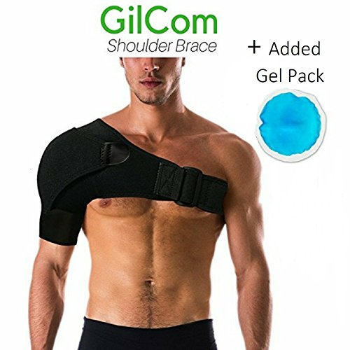 Shoulder Brace by Gilcom: comes with one ice pack| Great for Rotator Cuff Support for Injury Prevention, Dislocated AC Joint, Labrum Tear, Frozen Shoulder Pain, Sprain, Soreness, Bursitis by Gilcom