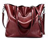 Dreubea Women's Soft Leather Handbag Hobo Crossbody Purse Tote Shoulder Bag Wine Red