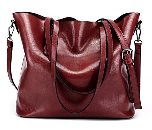 Dreubea Women's Soft Leather Handbag Hobo Crossbody Purse Tote Shoulder Bag Wine Red by Dreubea