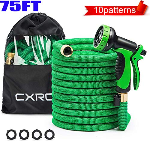 CXRCY Expandable Garden Hose, Double Latex cores 3 Times expanded car wash Hose, 3/4 inch Solid Brass Joints, Extra-Strength Fabrics – Flexible Expansion Metal Hose with 10 Features … (75FT)