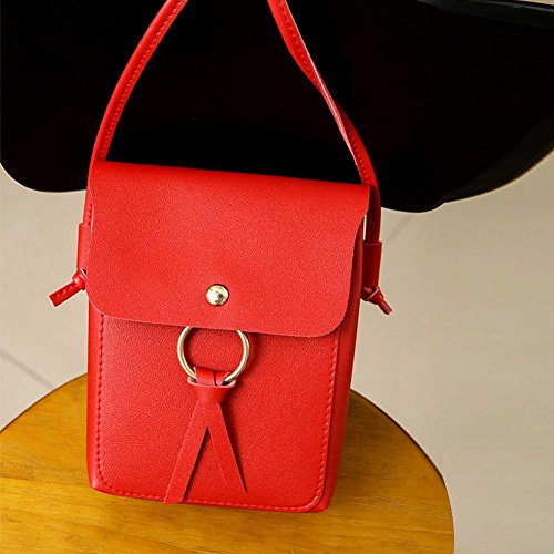 Mini Women Domybest Messenger Leather Pure Casual Phone Purse Bag Red Hasp Shoulder Coin qH4EH6