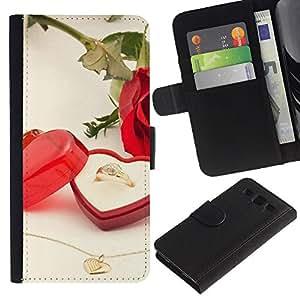 Be Good Phone Accessory // Caso del tirón Billetera de Cuero Titular de la tarjeta Carcasa Funda de Protección para Samsung Galaxy S3 III I9300 // Love Wedding Ring
