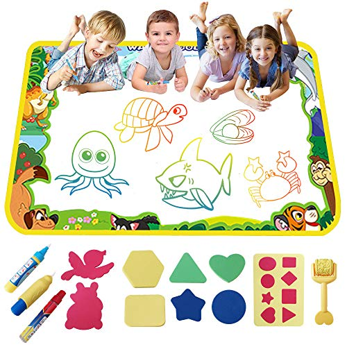 SHAWE Aqua Magic Mat , Drawing Water Doodle Mat ,Kids Painting Writing Doodle Board Toy , Color Doodle Drawing Mat Bring Magic Pens Educational Toys for Age 2+ Year Old Girls Boys Age Toddler Gift