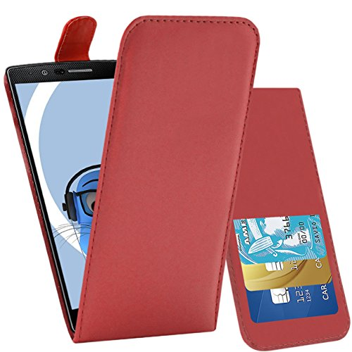iTALKonline LG G4 H815 Red PU Leather Executive Multi-Function Vertical Flip Wallet Case Cover Organiser with Credit / Business Card Holder, LCD Screen Protector Headphone mount 3.5mm Retractable Mini Stylus Pen and 3.5mm Stereo Hands Free HeadPhones with Mic