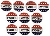 A&T Designs Quantity 10 I Voted 1.25' Pinback Buttons Pins Stars Election