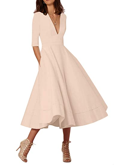bb08a24d7e5ff EFOFEI Womens Elegant Deep V Neck 3/4 Sleeve High Waist Vintage Long Maxi  Dress