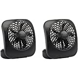 O2Cool FD05004BLK 5 Black 2 Speed Battery Operated Camping Fans - Quantity 2