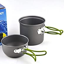 OFKP® Camping Cooking Set 1-2 People Portable Outdoor Cooking Set Anodised Aluminum Non-stick Cookware Camping Picnic Hiking Utensils Pot Pan Bowl