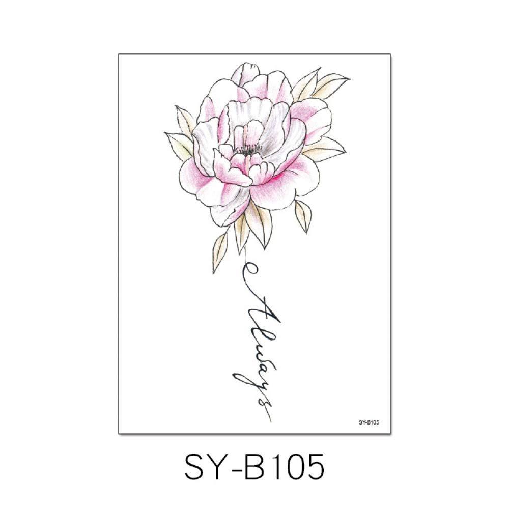 Flor pintada a mano brazo tatuaje pegatinas a prueba de agua ...
