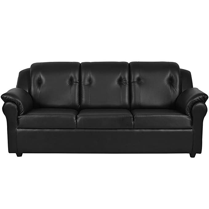 Furny York Three Seater Sofa ( Black)