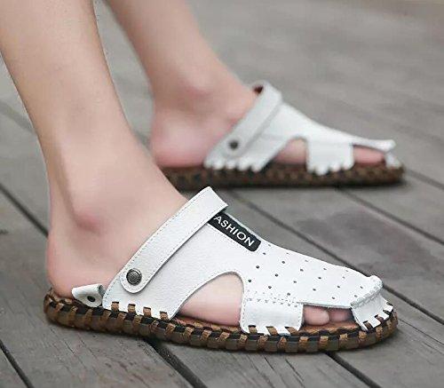 Xing Lin Flip Flop De La Playa Nuevo Hombre De Sandalias De Playa De Doble Uso Zapatos Verano Hombres Transpirable Zapatos Casual Zapatillas Sandalias Zapatos Marea De Hombres D93 white