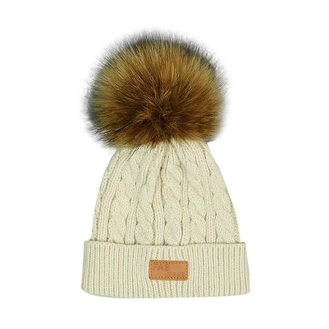 Topgrowth Cappello Inverno Bambino Caldo Uncinetto Lavorata A Maglia Sciare  Beanie Peluche Neonata Cappellini 0-3 Anni (Beige)  Amazon.it  Abbigliamento 6d0965facc48