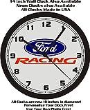 FORD RACING EMBLEM WALL CLOCK-FREE USA SHIP!