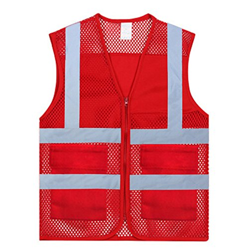 (GOGO Unisex US Size Mesh Volunteer Vest Zipper Front Safety Vest with Reflective Strips and Pockets-Red-US L)
