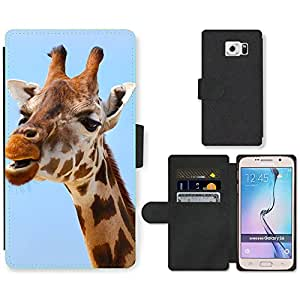 Super Stella Cell Phone Card Slot PU Leather Wallet Case // M00149664 Africa African Animal Big Brown // Samsung Galaxy S6 (Not Fits S6 EDGE)
