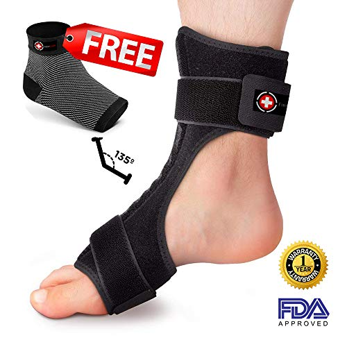 FirstCare Plantar Fasciitis Night Splint & Compression Socks 2-in-1 | Injury Support & Heel Pain Relief | Orthotic Brace for Achilles Tendon Support | Free Compression Sleeves Included