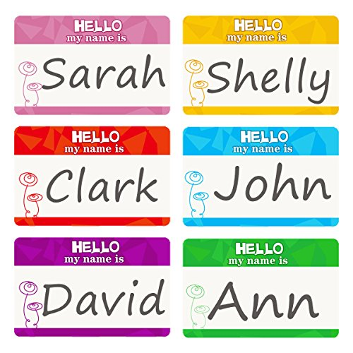Name Tag Labels Hello My Name is Perforation Line Design Identification Colorful School Office Stickers 1 Roll 200 Stickers]()