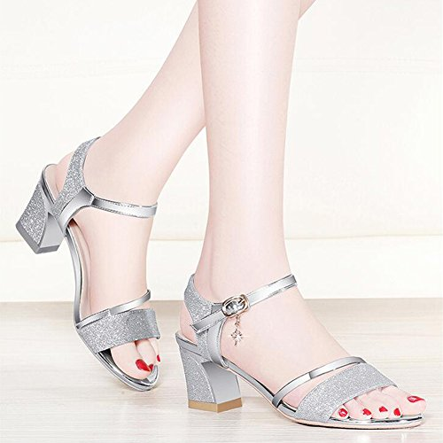 Doigt T2 UK4 Escarpins Ouvrir Sandales romain Haute pied Sandale Talon EU36 CJC Chaussures Dame Sangle taille T1 Couleur Brillant Cheville de wg1YnwRqx