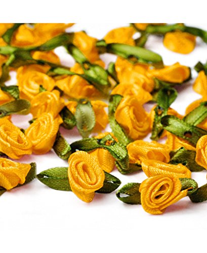 (Ajetex 100pcs Satin Ribbon Rose Flower 12mm Wedding Appliques Dark Yellow)