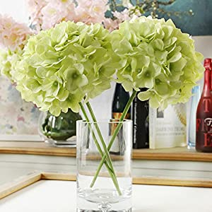 Artificial Hydrangea Flowers, Meiwo 2 Pcs Fake Hydrangea Silk Flowers for Your Wedding Scene Arrangement and Home Party Decor 2