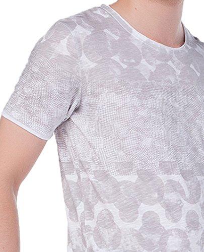 Red Bridge Mens Polka Dots T-Shirt Grau Weiß L