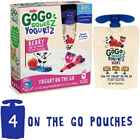 GoGo squeeZ YogurtZ, Berry, 3 Ounce (4 Pouches), Low Fat Yogurt, Gluten Free, Healthy Snacks, Recloseable, BPA Free Pouches